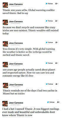 Jose Canseco is just as dumb about the Titanic as all those