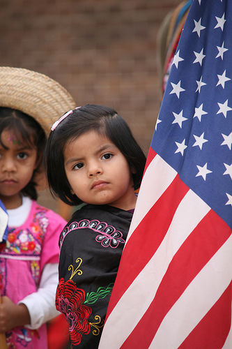 latina child american flag