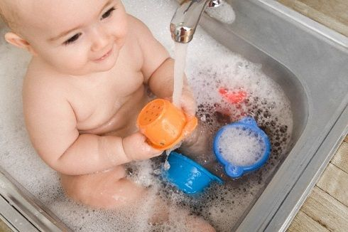 baby in sink