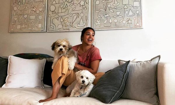 Gina Rodriguez with dogs